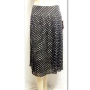 Black White Polka Dot Pleated Petite Skirt NWT
